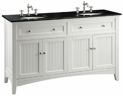 "60 inch White Beadboard Bathroom Vanity with Black Galaxy Granite Top (60""Wx21""Dx37""H) CCF47530"