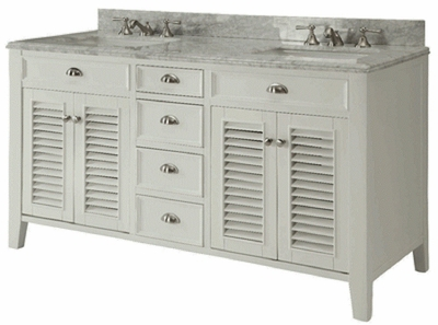 "60 inch White Bathroom Vanity Cottage Beach Style Carrara Marble Top (60""x21.5""x36""H) CYR3028Q60D"