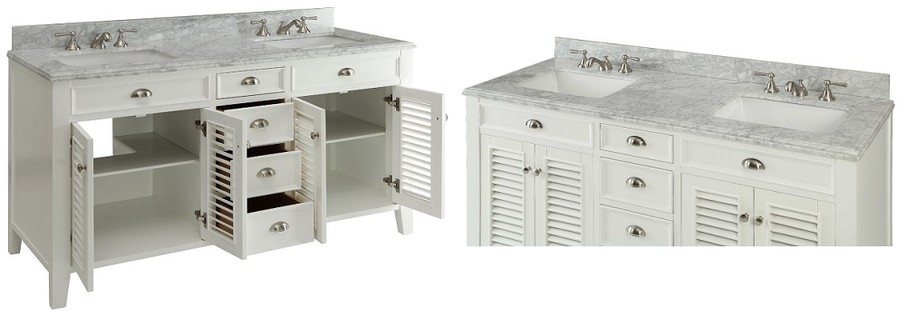 60 Inch Off White Bathroom Vanity 60 inch bathroom vanity cottage style off white cabinet carrara top