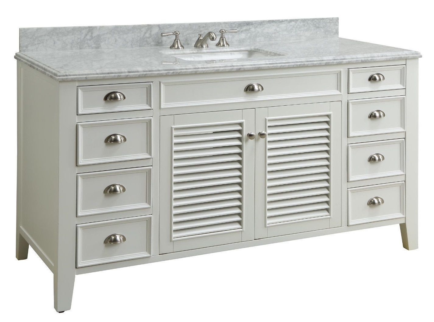 60 Inch Single Sink Bathroom Vanity Cottage Beach Style White Color X21 5 X36 H Cyr3028q60s