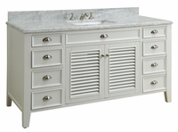 "60 inch Single Sink Bathroom Vanity Cottage Beach Style White Color (60""x23""x35""H) CYR3028Q60S"