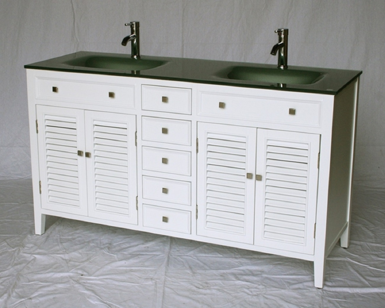 60 white bathroom vanity - 60 Inch White Bathroom Vanity Cottage Shutter Beach Style Glass Top 60 Wx21 Dx35 H S112860g