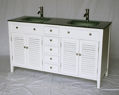 "60 inch White Bathroom Vanity Cottage Shutter Beach Style Glass Top (60""Wx21""Dx35""H) S112860G"