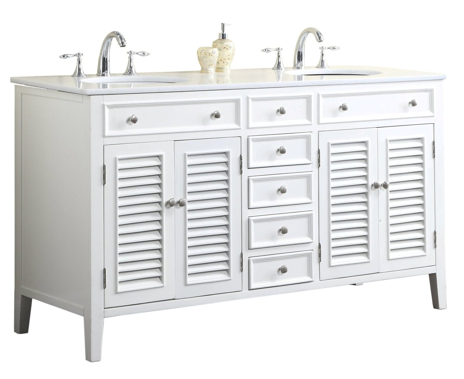60 inch bathroom vanity cottage style white cabinet white top for Bathroom 60 inch double vanities