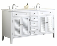 "60 inch Bathroom Vanity Cottage Shutter Beach Style White Color (60""Wx21""Dx35""H) SN112860W"