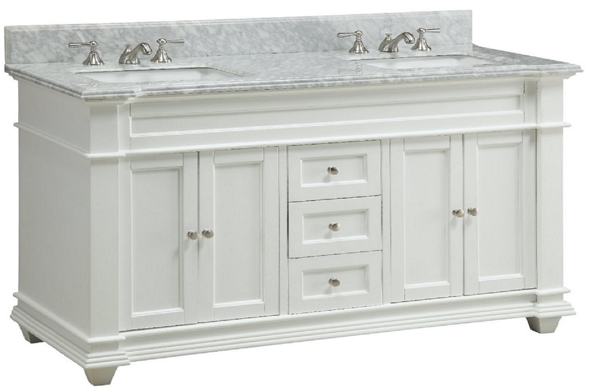 60 inch Bathroom Vanity Cottage Shaker Beach Style White ...