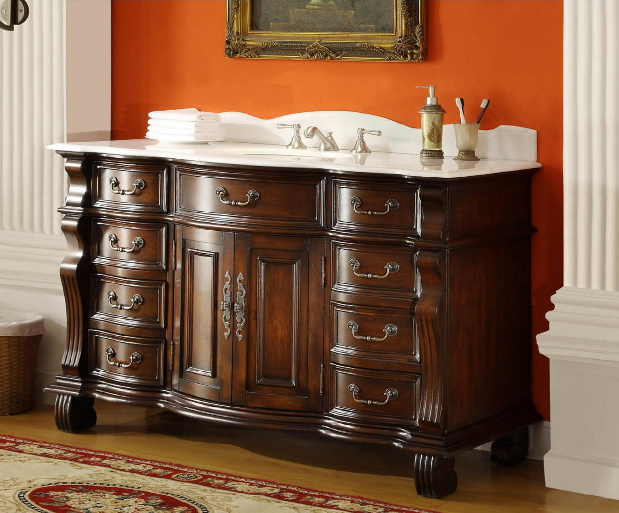 60 Inch Single Sink Bathroom Vanity 8 Drawers Medium Brown Color Wx22 Dx36 H Cgd4437w60