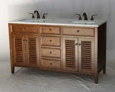 "60 inch Double Sink Coastal Cottage Bathroom Vanity Walnut Color (60""Wx21""Dx35""H) S332860S"