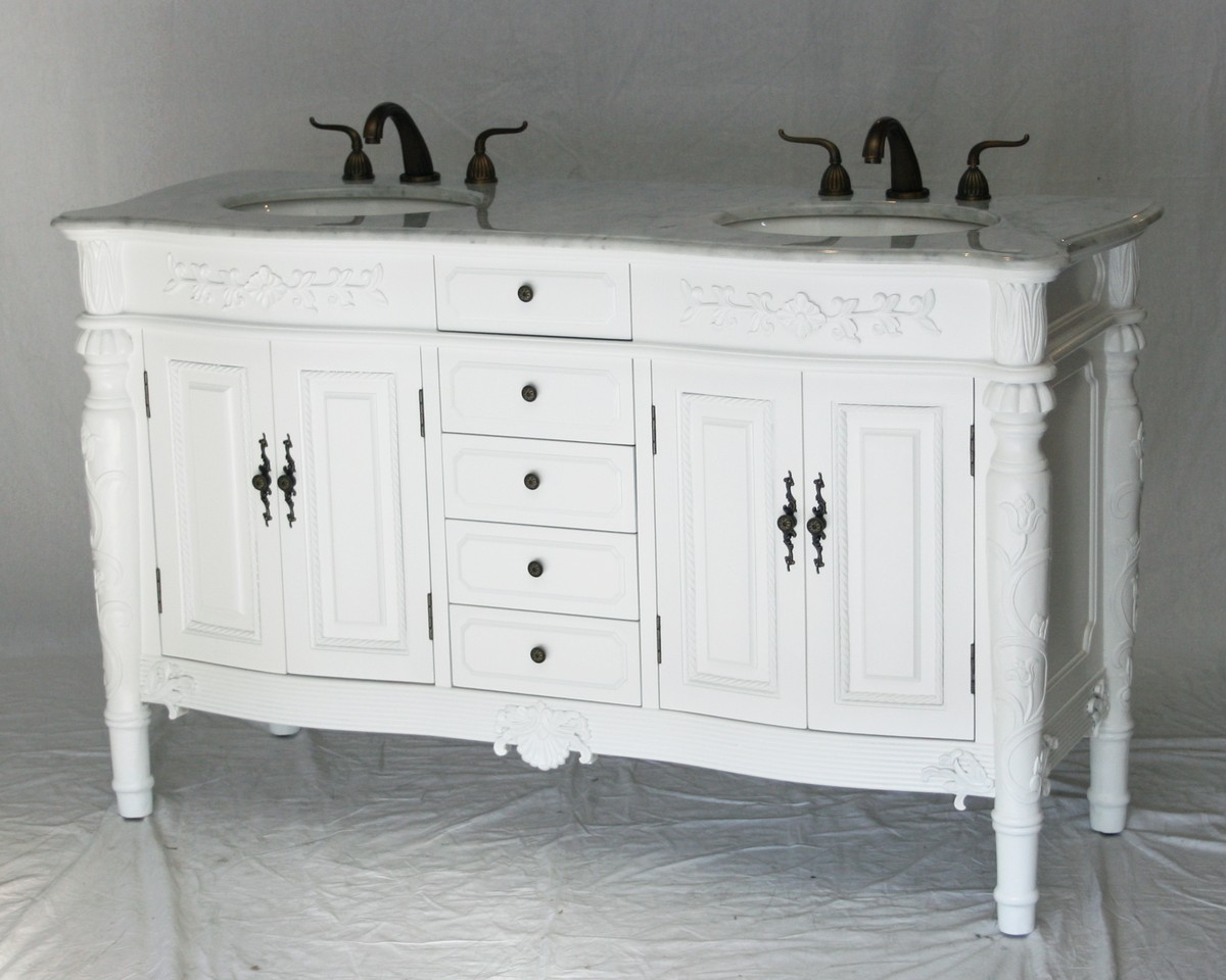 60 Inch Double Sink Bathroom Vanity Antique Traditional Style Pure White Color 60 Wx22 Dx36 H