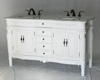 "60 inch Double Sink Bathroom Vanity Antique Traditional Style Pure White Color (60""Wx22""Dx36""H) S2206W"