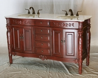 "60 inch Double Sink Bathroom Vanity Antique Traditional Style Cherry Color (60""Wx22""Dx36""H) S2206K"