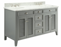 "60 inch Double Sink Grey Bathroom Vanity Carrara Marble Top (60""Wx23""Dx35""H) C3028CK60D"