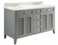 "60 inch Double Sink Grey Cottage Bathroom Vanity Carrara Marble Top (60""Wx23""Dx35""H) C3028CK60D"