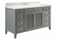 "60 inch Gray Beach Style Bathroom Sink Vanity Italian Marble Carrara Top (60""Wx23""Dx35""H) C3028CK60S"
