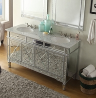 60 inch Double Sink Bathroom Vanity Art Deco Mirrored Cabinet Carrara Marble Top C7332Q60