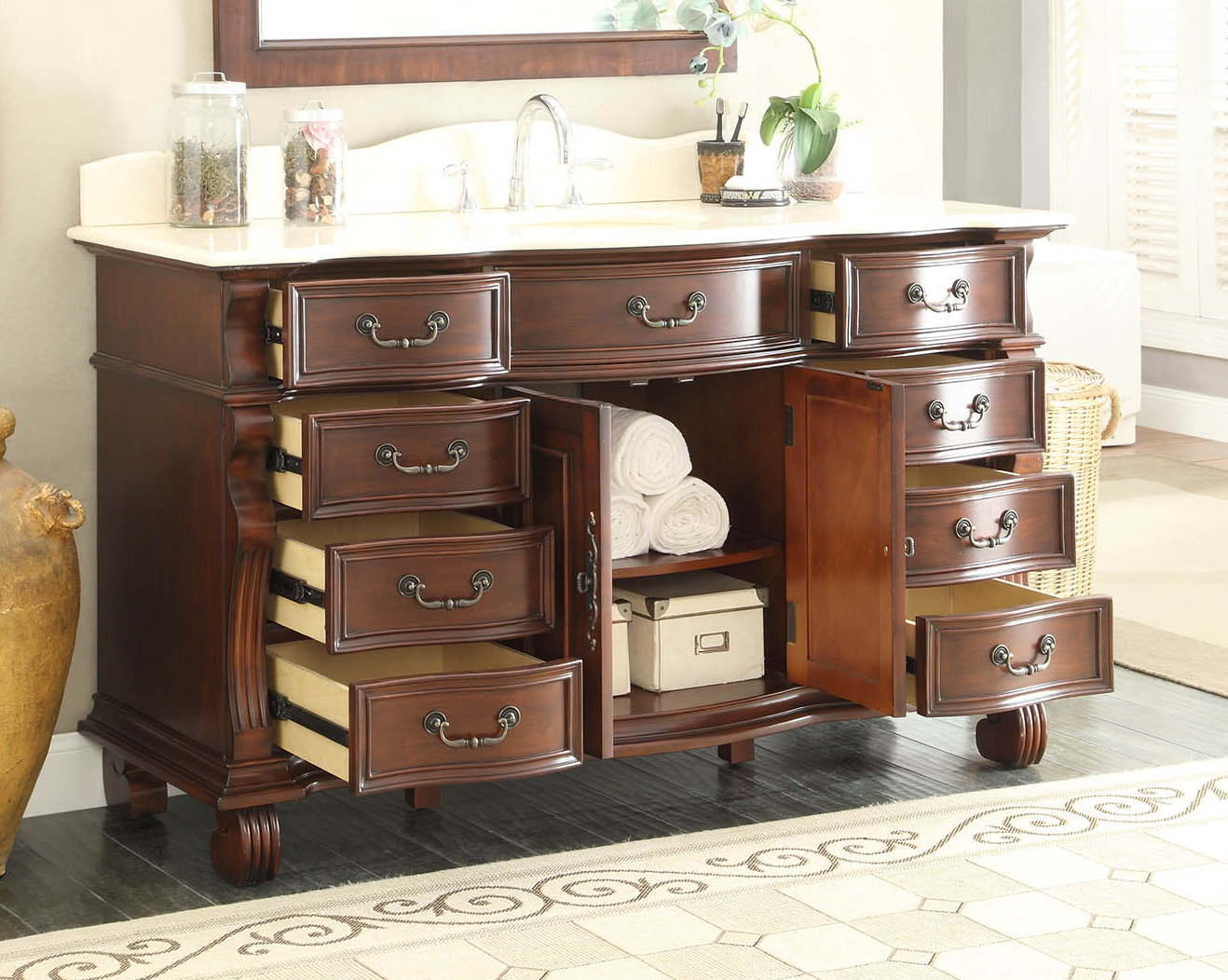 60 inch single sink bathroom vanity 8 drawers light cherry for Bathroom cabinet 8 inches wide