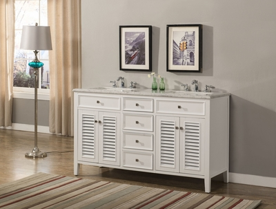 "60 inch White Double Sink Bathroom Vanity Beach Style Carrara Marble Top (60""Wx21""Dx35""H) S332860W"
