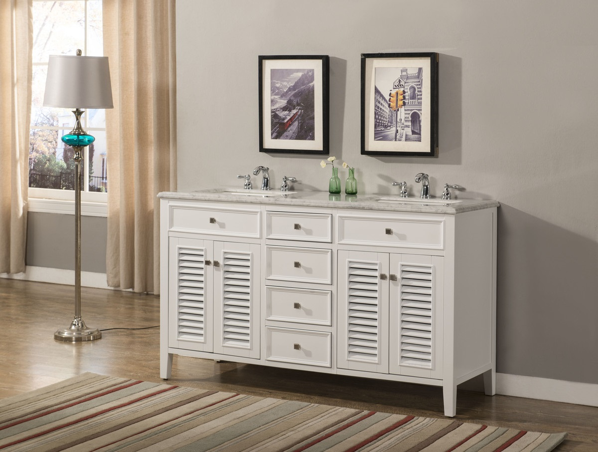 "60 inch White Double Sink Bathroom Vanity Cottage Style Carrara Marble Top ( 60""Wx21""Dx35""H) S332860W"