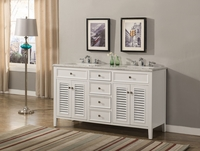 "60 inch White Double Sink Bathroom Vanity Cottage Style Carrara Marble Top (60""Wx21""Dx35""H) S332860W"