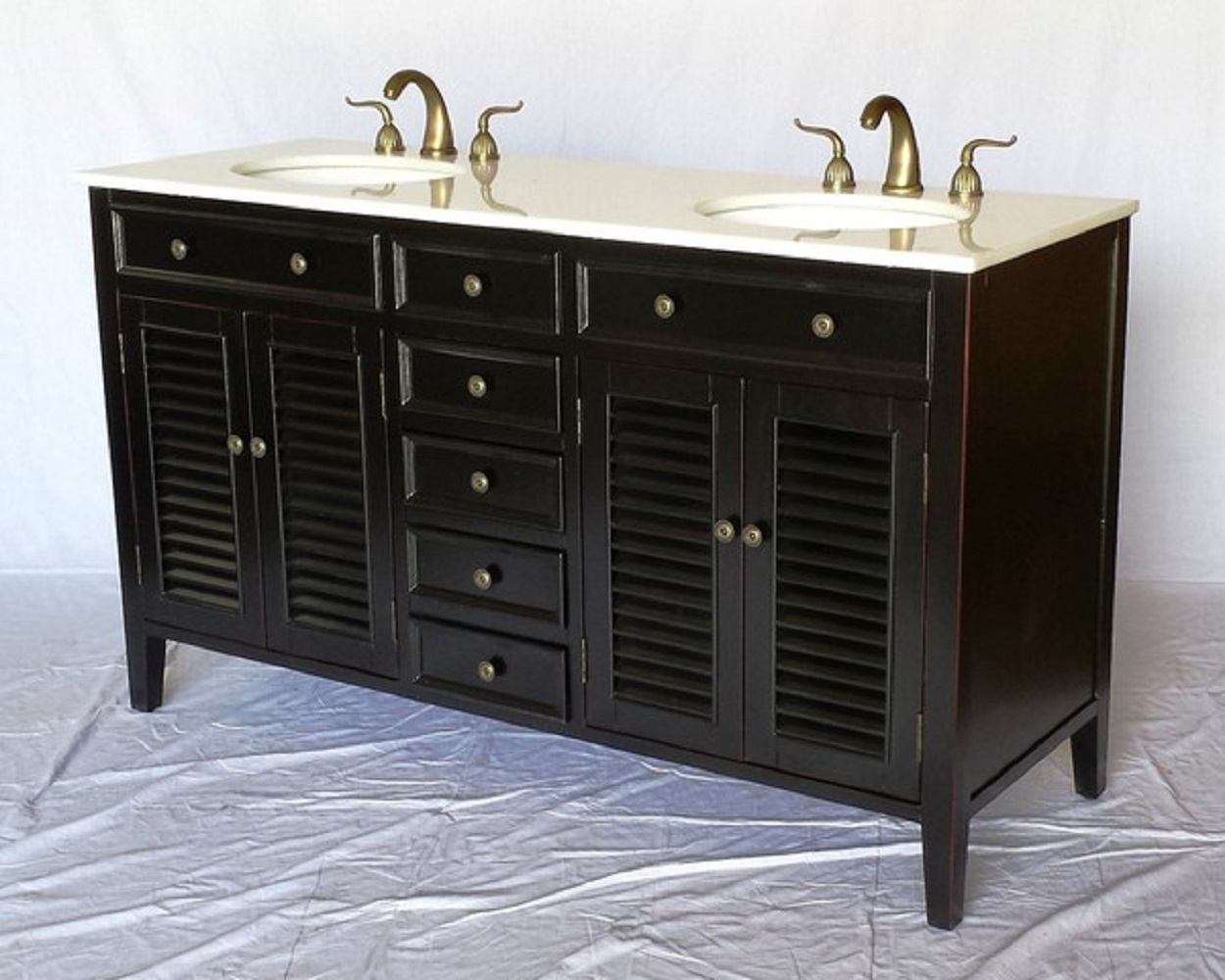 60 Inch Espresso Louvered Bathroom Vanity With Crystal White Marble Top 60 Wx21 Dx35 H S112860b
