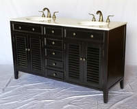 "60 inch Espresso Louvered Bathroom Vanity with Crystal White Marble Top (60""Wx21""Dx35""H) S112860B"