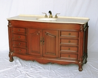 "60 inch Single Sink Bathroom Vanity Traditional Style Cherry Finish (60""Wx22""Dx36""H) S3169L505"