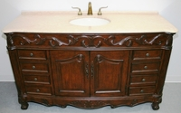 "60 inch Single Sink Bathroom Vanity Walnut Color & Beige Marble Top (60""Wx22""Dx36""H) SK3169LBE"
