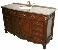 "60 inch Single Sink Bathroom Vanity Walnut Color & Brown Marble Top (60""Wx22""Dx36""H) SK3169LMXC"