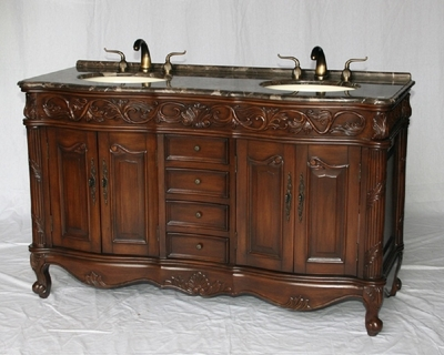 "60 inch Double Sink Bathroom Vanity Walnut Color (60""Wx22""Dx37""H) S7760MXC FREE SHIPPING"