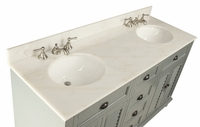"62 inch Double Bathroom Vanity Beach Vintage Snow Gray Color (62""Wx22""Dx36""H) CGD21999CK"