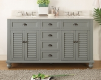 "62 inch Double Bathroom Vanity Beach Vintage Snow Gray Color (62""Wx22""Dx36�H) CGD21999CK"