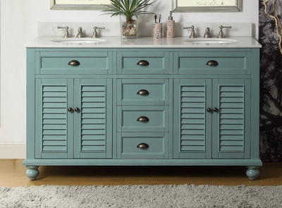 "62 inch Bathroom Vanity Coastal Cottage Beach Style Blue Color (61.75""Wx22""Dx36""H) CGD21888BU"