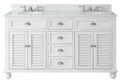 "62 inch Double Sink Bathroom Vanity Beach House Snow White (61.75""Wx22""Dx36""H) CGD21333"