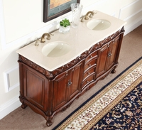"64 inch Bathroom Vanity Double Sink Traditional Cherry Color (64""Wx22""Dx35""H) C3059DM60"