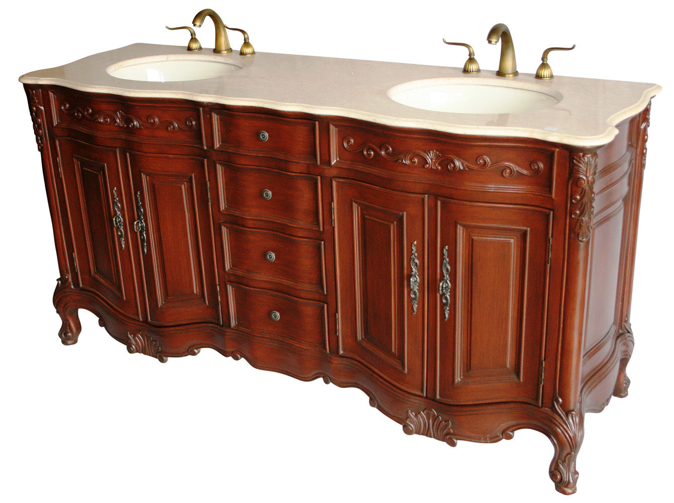 "68 inch Double Sink Bathroom Vanity Walnut Finish (68""Wx22 ..."