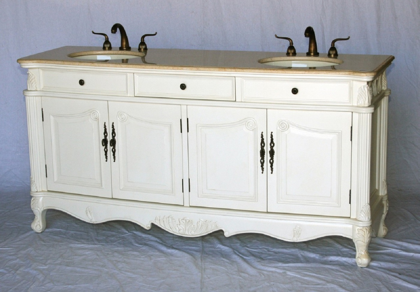 70 inch double sink antique style bathroom vanity antique for Antique white double sink bathroom vanities