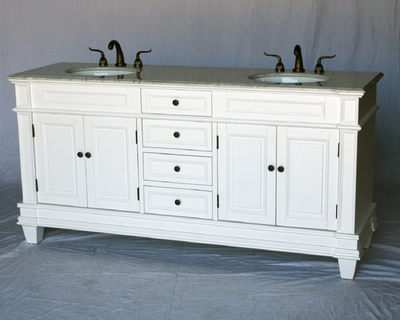 "72 inch Double Sink Transitional Bathroom Vanity White Carrara Top (72""Wx22""Dx36""H) S2503WT"
