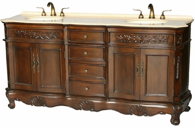 "72 inch Double Sink Bathroom Vanity Walnut Color (72""Wx21""Dx36""H) S2003BE"