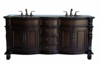 "72 inch Bathroom Vanity Traditional Classic Style Dark Brown Color (72""W x 22""D x 36""H) CCF4438BN"