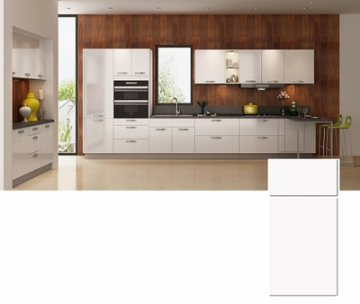 High Gloss White Flat Doors and Drawers Design