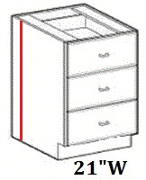 """Modular Bathroom Vanity 3 Drawers Base Cabinet 21""""W x 24""""D x 34.5""""H Click to Select Color"""