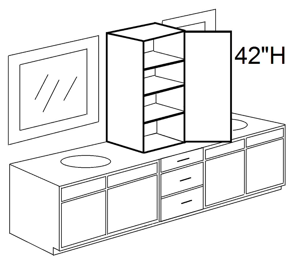 Modular 42 H One Door Linen Tower Cabinet Over Countertop Click To Select Width And Color