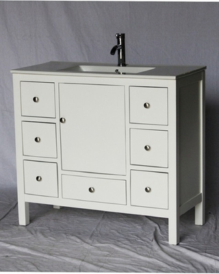 40 inch 18 Deep White Bathroom Vanity White Porcelain Top S3040W