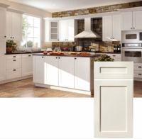 White Shaker Style with V Groove 100% Solid Wood