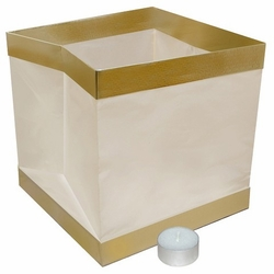 Floating Paper Lanterns with Gold Trim - White (6 Count)