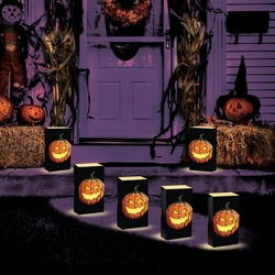 LED LumaLite Kit with Jack O'Lantern Plastic Bags 6ct