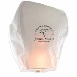 Memorial Sky Lantern - In Loving Memory w/Hearts