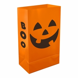 Plastic Luminaria Bags - Orange Pumpin 12ct