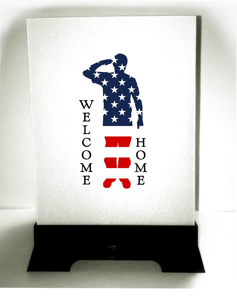 Custom luminaries military soldiers returning homecoming party for Welcome home soldier decorations