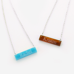 Acrylic Bar Necklace Engraved with Name
